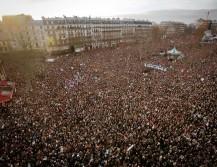 Imagen de la manifestación  en Paris contra el atentado a Charlie Hebdo