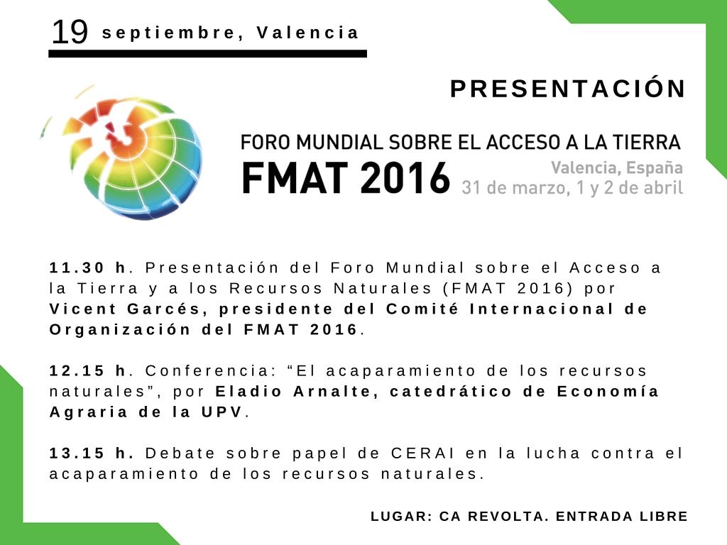 Presentación del Foro Mundial sobre el Acceso a la Tierra y a los Recursos Naturales (FMAT 2016)
