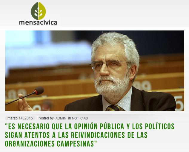 """""""Es necesario que la opinión pública y los políticos sigan atentos a las reivindicaciones de las organizaciones campesinas"""""""