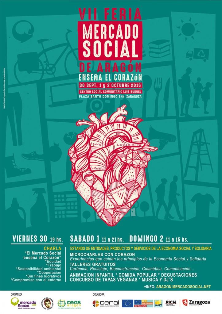 Cartel Feria Mercado Social Aragón 2016