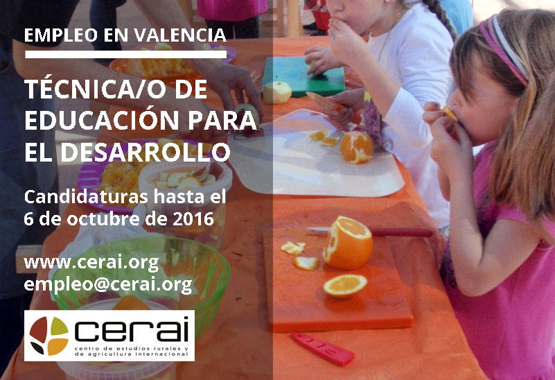 Empleo en CERAI: Técnico/a de Educación para el Desarrollo en Valencia