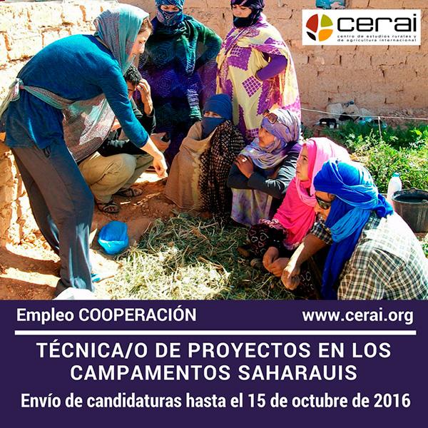 Empleo en CERAI: Técnica/o de proyectos en los campamentos saharauis