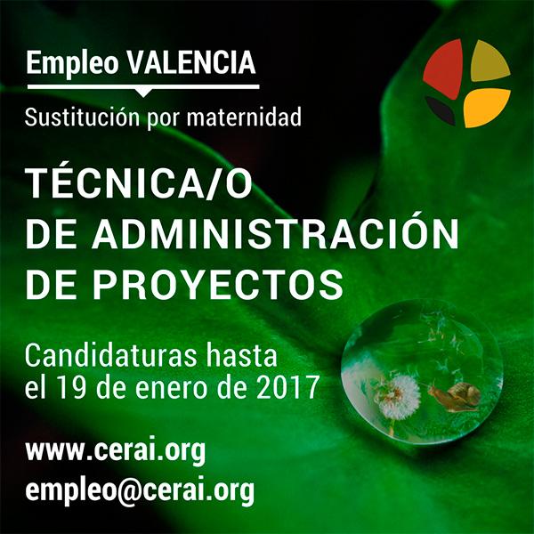 Empleo CERAI Valencia: Técnica/o de Administración de Proyectos