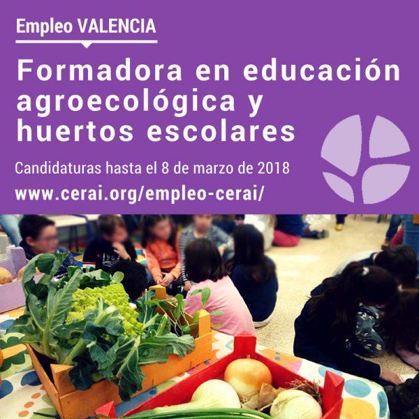 Empleo en CERAI: Formadora en educación agroecológica y huertos escolares