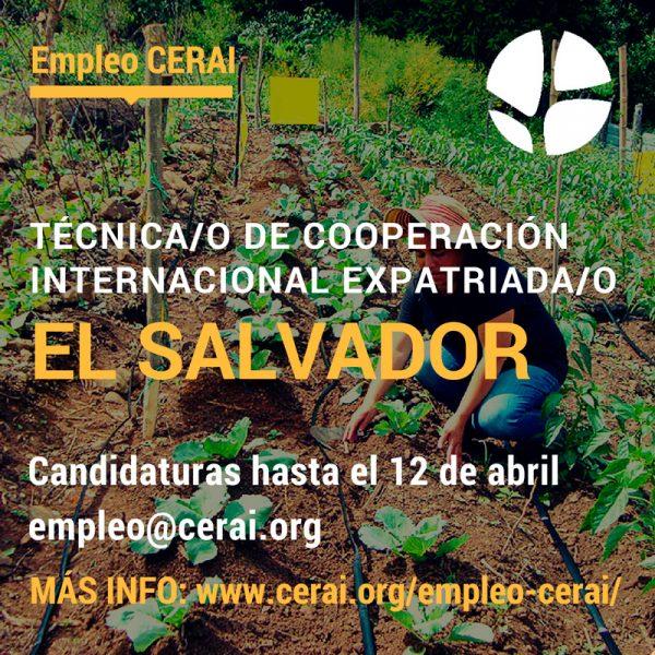 Empleo en CERAI: Técnica/o de Cooperación expatriada/o en El Salvador
