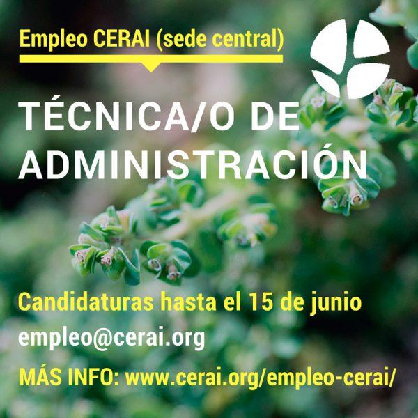 Empleo en sede central (Catarroja, Valencia): Técnica/o de Administración
