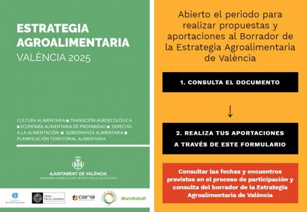 Consulta online sobre la Estrategia Agroalimentaria de Valencia