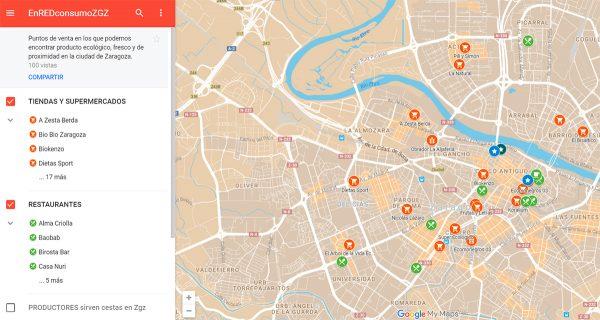 Mapa de puntos de venta con producto ecológico, fresco y de proximidad en Zaragoza