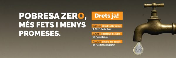 Pobresa Zero convoca movilizaciones contra la pobreza en toda la Comunitat Valenciana