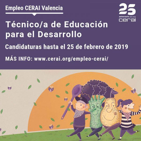 Oferta de empleo en CERAI Valencia: Técnico/a de Educación para el Desarrollo