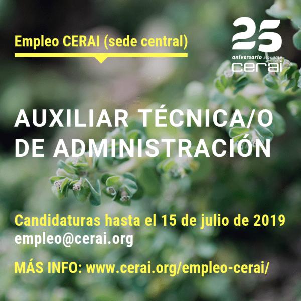 Empleo CERAI: Auxiliar técnica/o de Administración