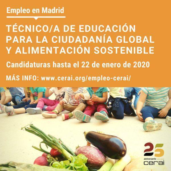 Empleo: Técnico/a de Educación para la Ciudadanía Global y Alimentación Sostenible