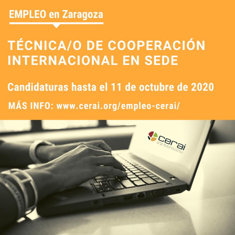 Empleo en CERAI: Técnica/o de Cooperación Internacional en la sede de Zaragoza