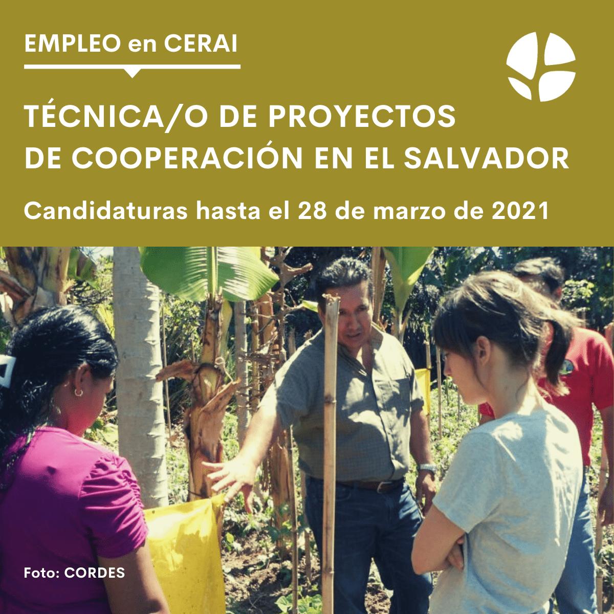 Oferta de empleo: Técnica/o de proyectos para CERAI en El Salvador